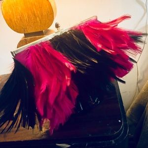 Handbags - Pink and black feathered clutch